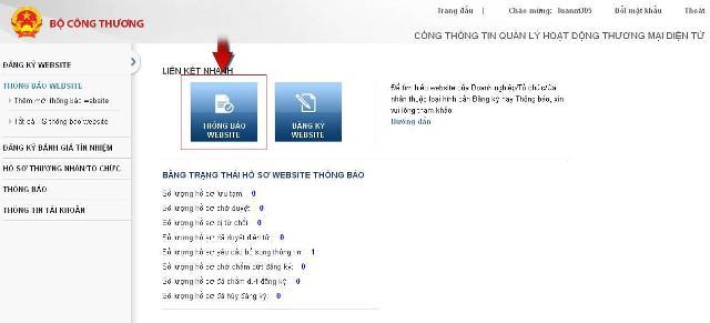 Quy trình thông báo website thương mại điện tử với bộ công thương