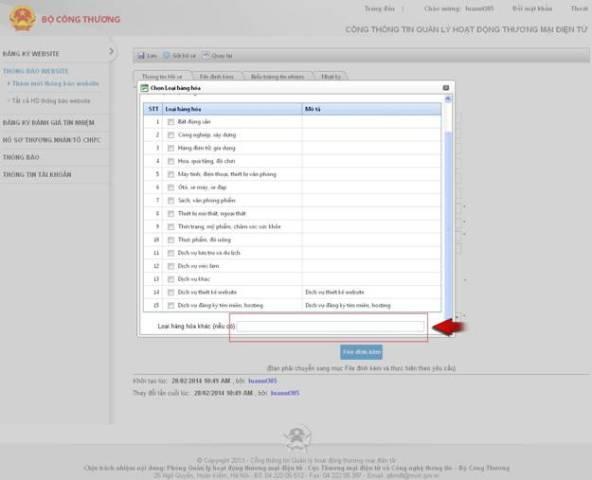 quy trình thông báo website TMĐT