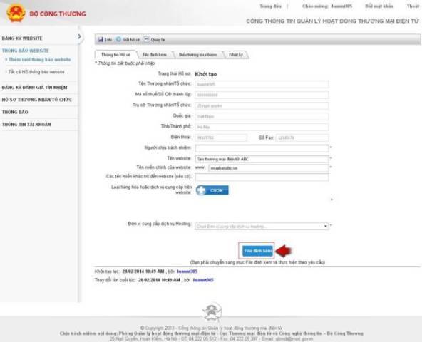 quy trình thông báo website TMĐT bán hàng