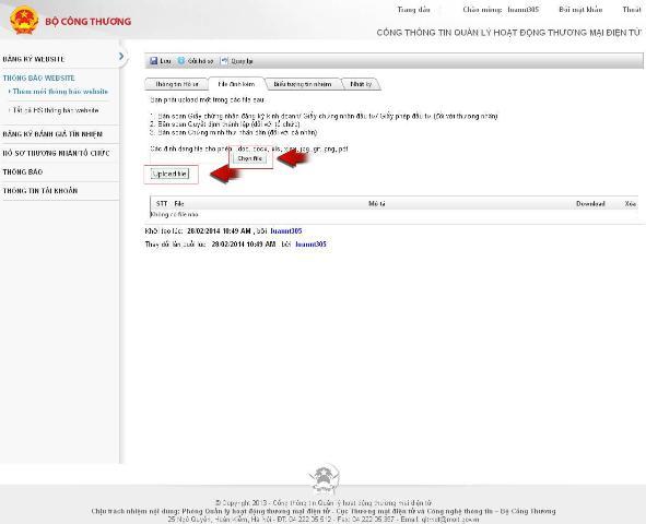 quy trình thông báo website TMĐT với bộ công thương