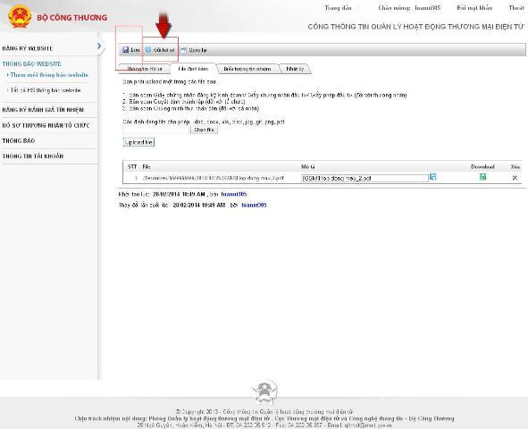 quy trình thông báo website TMĐT với BCT