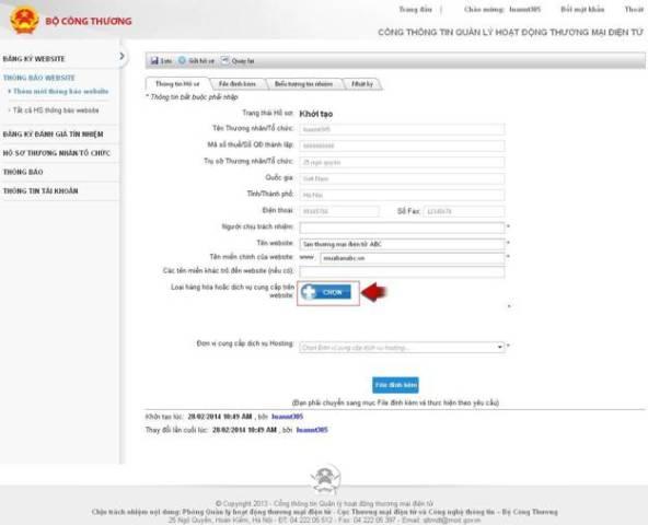 Thủ tục thông báo website bán hàng