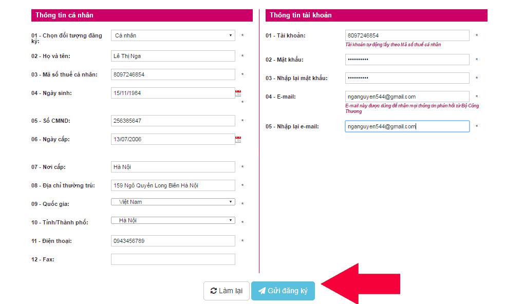 quy trình thông báo website với bộ công thương
