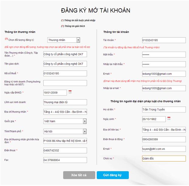 đăng ký mở tài khoản thông báo website với bộ công thương