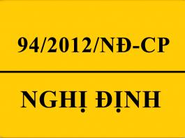 Nghị định 94/2012/NĐ-CP