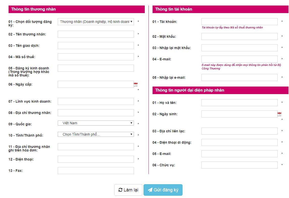 đăng ký website TMĐT với bộ công thương