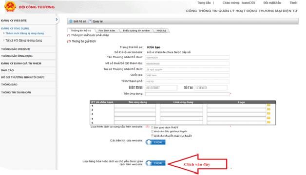 quy trình đăng ký APP cung cấp dịch vụ thương mại điện tử